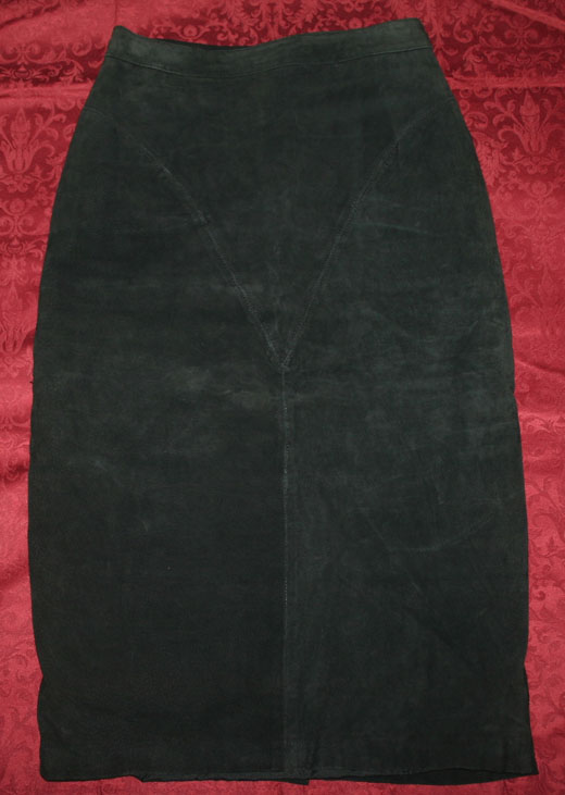 Vintage Witchy Long Black Genuine Suede Leather Skirt Sz 10
