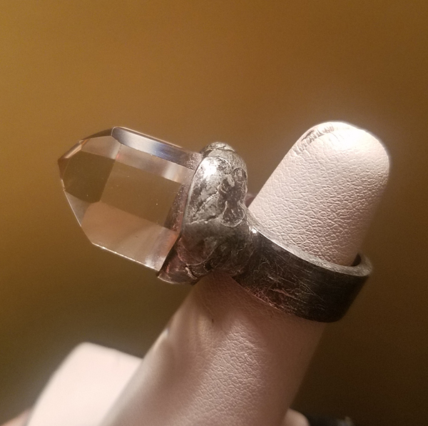Large Clear Quartz Crystal Statement Ring, Size 4 1/2