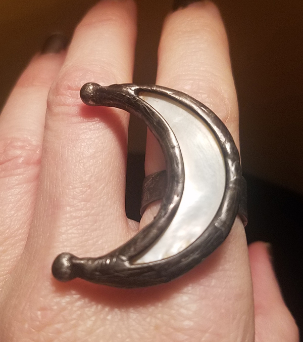 Huge Mother of Pearl Crescent Moon Statement Ring, Size 6 1/4