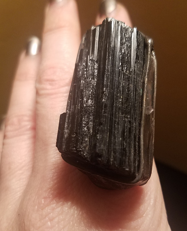 HUGE Raw Black Tourmaline Ring, 2 inches, Size 6, Electroformed Nickel-Free