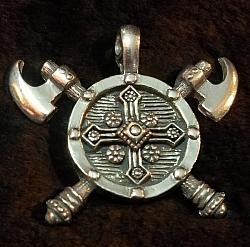 Viking Battle Axe Shield Pendant