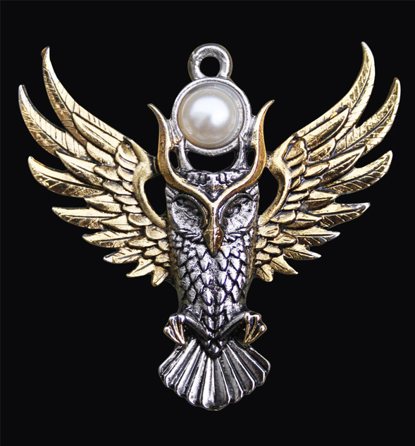 Owl of Athena Moon Pendant