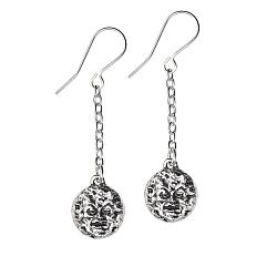 Alchemy Gothic Man In The Moon Dropper Earrings