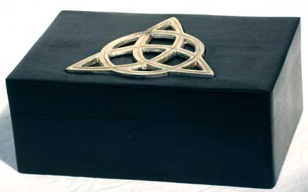 Handcrafted Wood Triquetra Black Tarot Box
