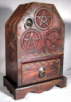 Wood Pentagram Herb Cupboard Altar Chest