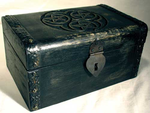 Hecate Triple Pentagram Wood Chest Tarot Box