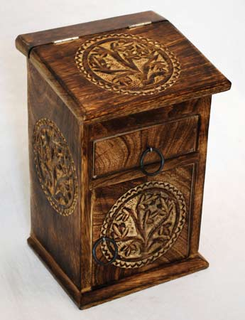 Tree of Life Wood Herb Cupboard Altar Chest