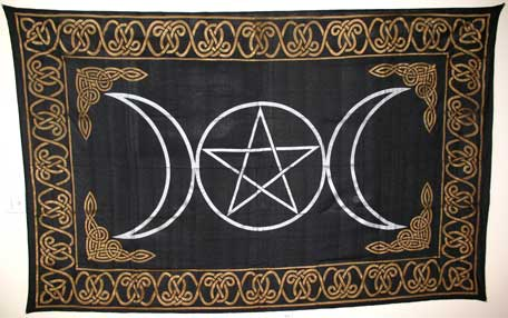 Triple Goddess Pentagram Tapestry Altar Cloth