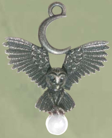Gothic Flight of Goddess Owl Crescent Moon Pendant