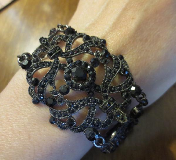 Vintage Gothic Victorian Jet Black Jewel Bracelet