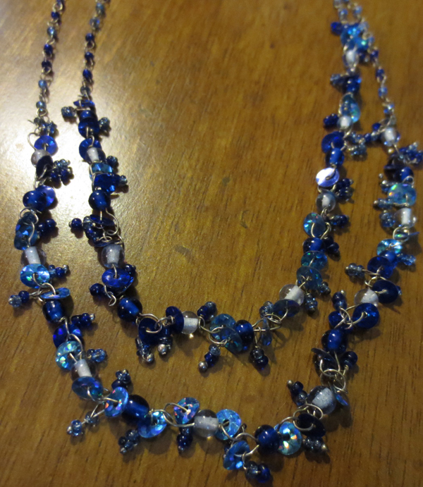 Multi Strand Bohemian Blue Beaded Choker