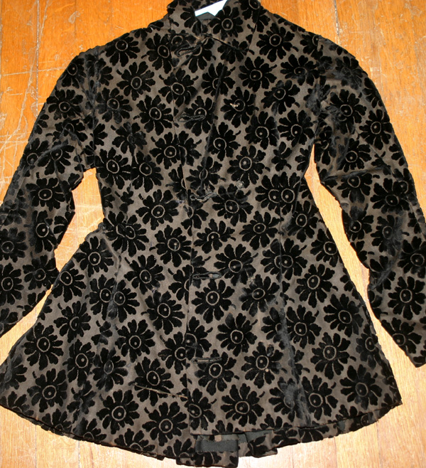 Antique Victorian Black Velvet Ladies Mourning Jacket