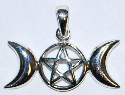 Sterling Triple Moon Pentagram Charm