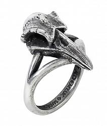 Alchemy Gothic Rabeschadel Kleiner Raven Skull Ring, Choose your Size