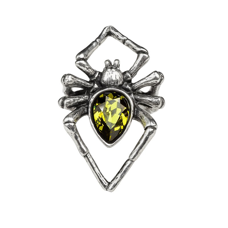 Alchemy Gothic Emerald Venom Ring Spider, Choose your Size