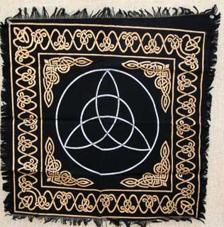 Celtic Triquetra Black Cotton Altar Cloth