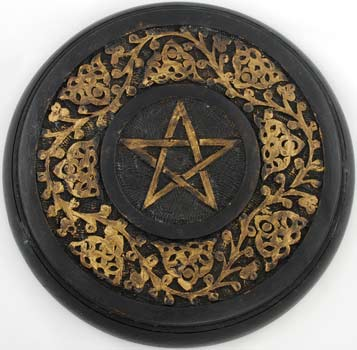 Large Wood Ivy Pentagram Altar Tile