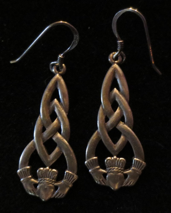 Vintage Sterling Silver Celtic Knot Earrings Irish Claddagh