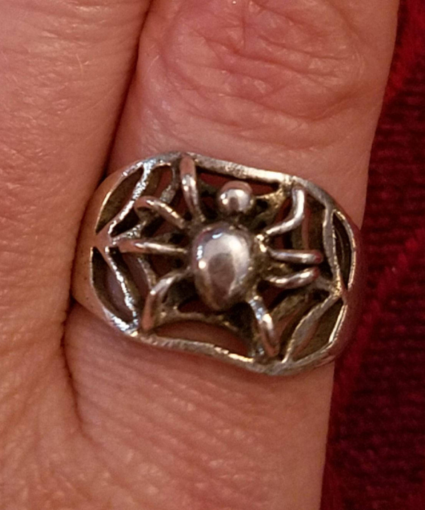 Vintage Sterling Silver Spider Ring Spiderweb Size 8