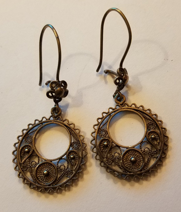 Vintage 925 Sterling Silver Dangle Earrings Bali Swirls, Made in Turkey