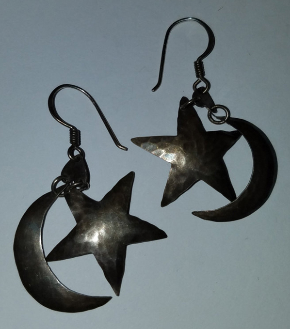 Vintage Sterling Silver Star and Crescent Moon Earrings