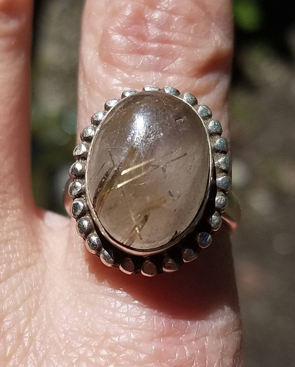 Vintage Sterling Silver Gold Rutilated Quartz Venus Hair Stone Ring 7 1/2 7.5