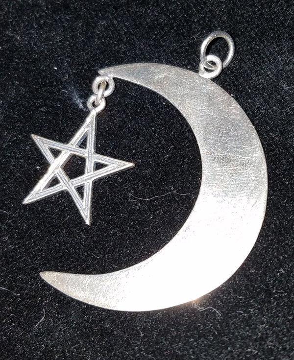 Vintage Sterling Silver Mexico Crescent Moon Star Pendant Pentagram