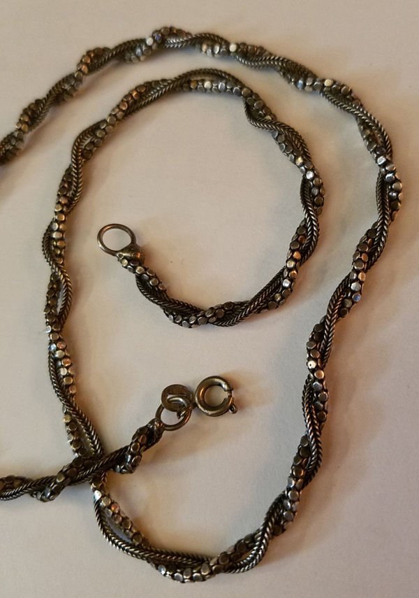 Vintage Sterling Silver Twisted Chain Necklace 18 Inches Unique