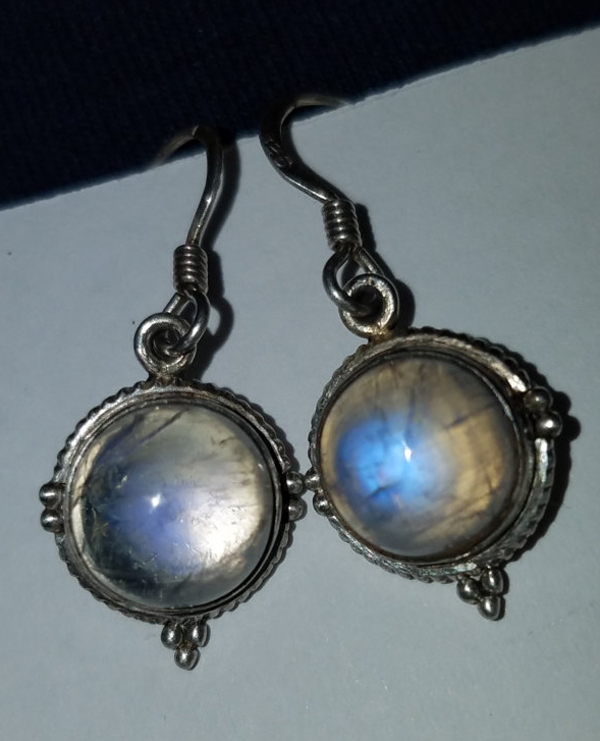 Gorgeous Round Rainbow Moonstone Sterling Silver Earrings
