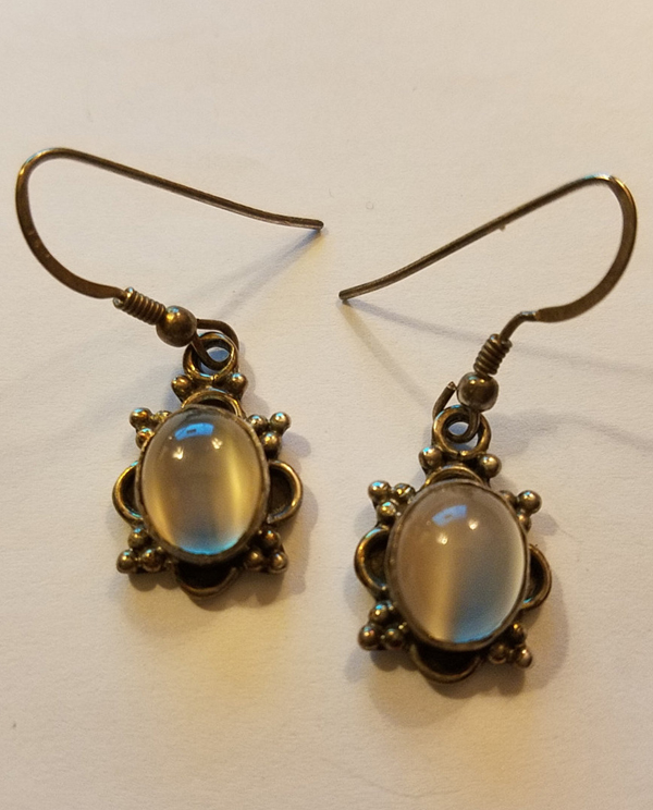 Vintage Sterling Silver Smokey Gray Moonstone Earrings