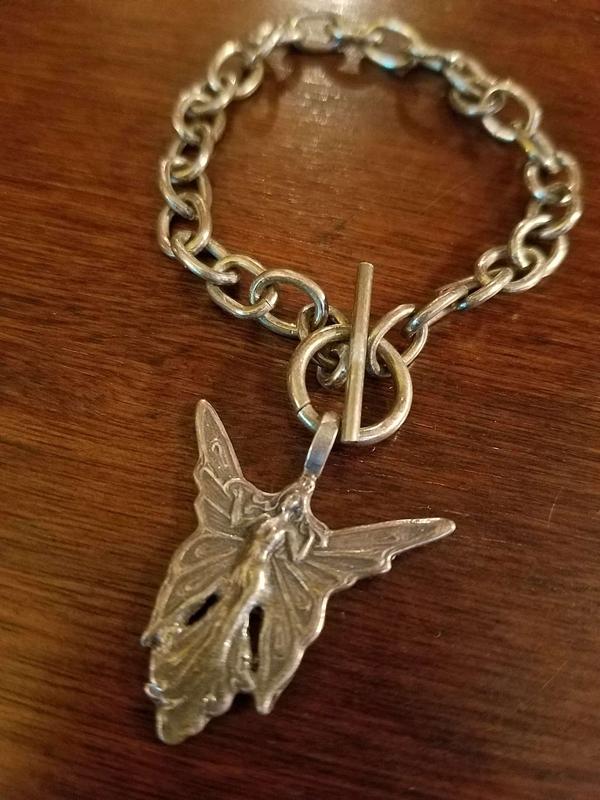 Vintage Sterling Silver Fairy Charm Bracelet, Art Nouveau, Art Deco