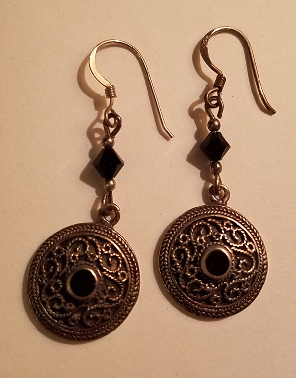 Vintage Sterling Silver Black Onyx Dangle Earrings Gothic Medieval