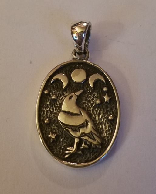Sterling Silver Raven Triple Moon Pendant 925 Wiccan Pagan