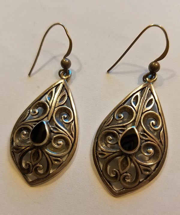 Vintage Sterling Silver Black Onyx Earrings Dangle Gothic