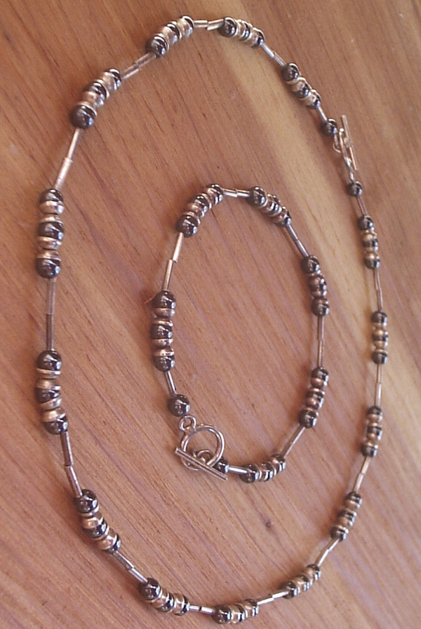 Sterling Silver Hematite Necklace Bracelet Set Beads Toggle
