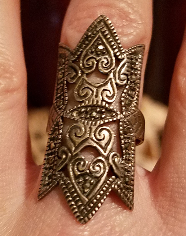 Antique Art Deco Huge Marcasite Sterling Silver Ring Size 7 1/2