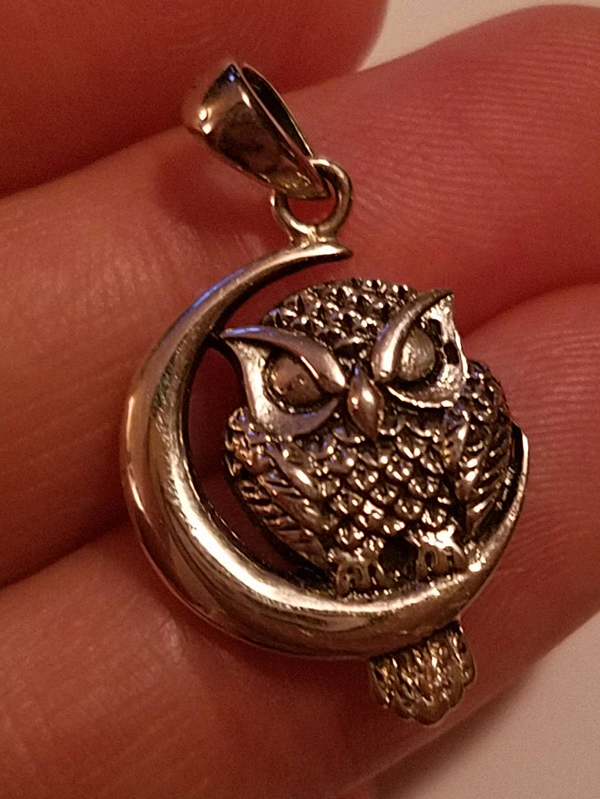 Sterling Silver Owl cradled in Crescent Moon Pendant