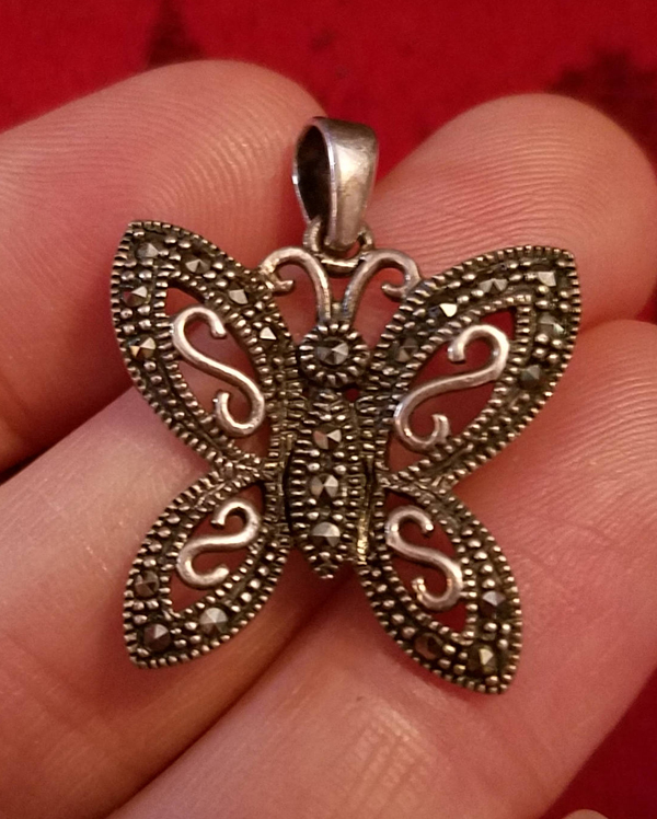 Vintage Sterling Silver Marcasite Butterfly Pendant Gorgeous