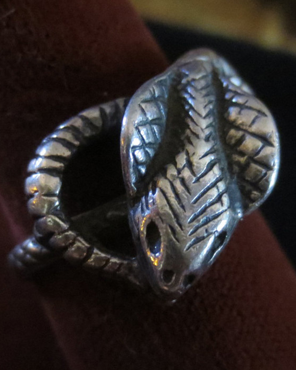 Sterling Silver Cobra Snake Ouroborus Ring Size 8