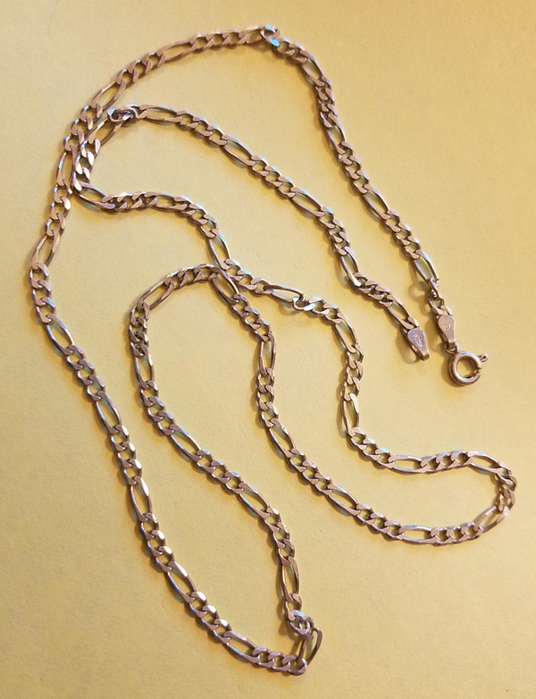 Sterling Silver 24 inch Figaro Chainlink Chain Necklace, Made in Italy