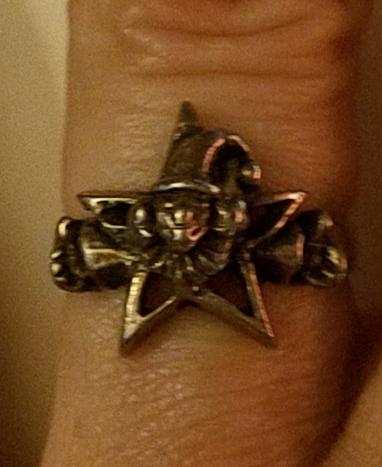 Vintage Sterling Silver Pentagram Jester Ring Size 5