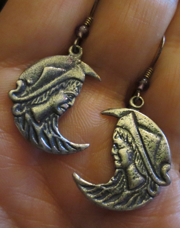 Sterling Silver Goddess Moon Earrings Amethyst Greek God Crescent