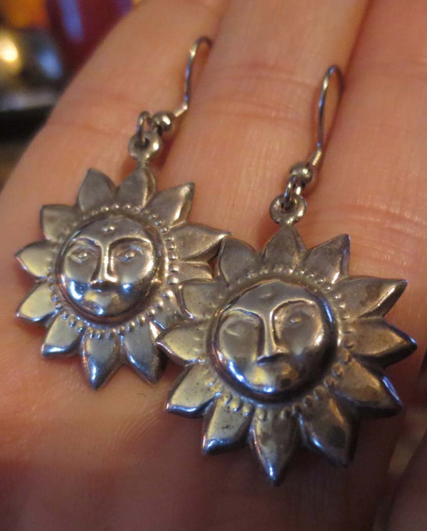 Vintage Sterling Silver Sun Face Earrings Celestial Jewelry