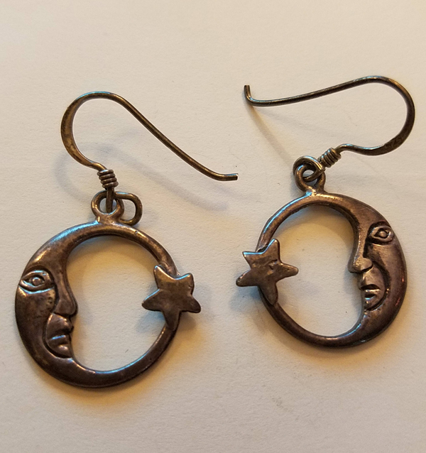 Vintage Sterling Silver Crescent Moon Earrings Lady Face Goddess Star