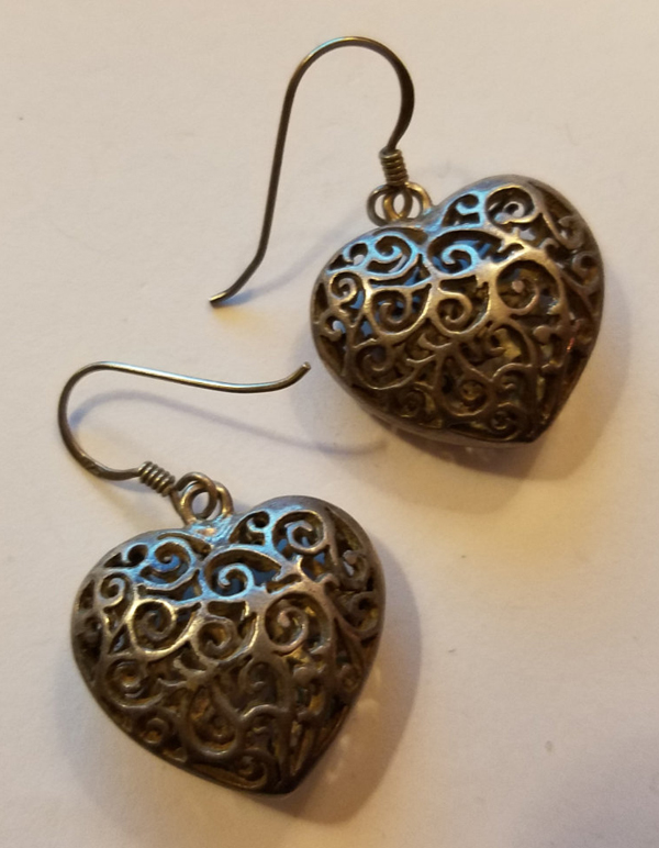 Vintage Sterling Silver Heart Earrings Puffed Filigree Dangle