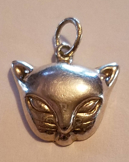 Vintage Sterling Silver Cat Face Pendant, Wiccan Pagan Kitty