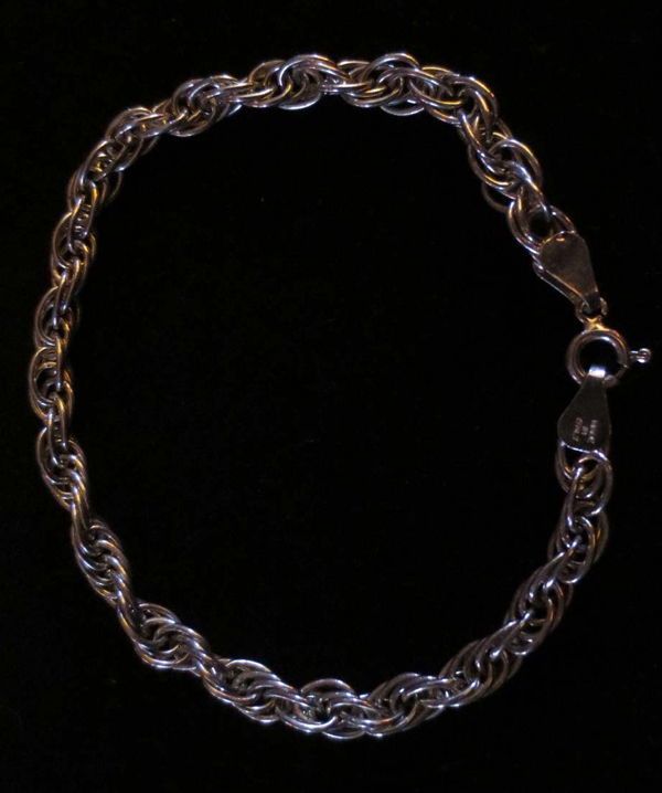 Vintage Milor Sterling Silver Bracelet Twisted Rope 925 Italy 7 1/2 inches