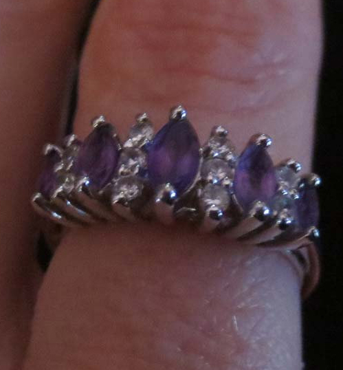 Vintage Sterling Silver Purple Amethyst CZ Stones Ring Size 7