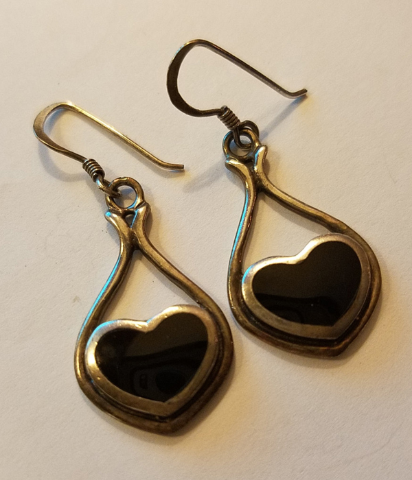 Vintage Sterling Silver Heart Earrings Black Onyx Inlay