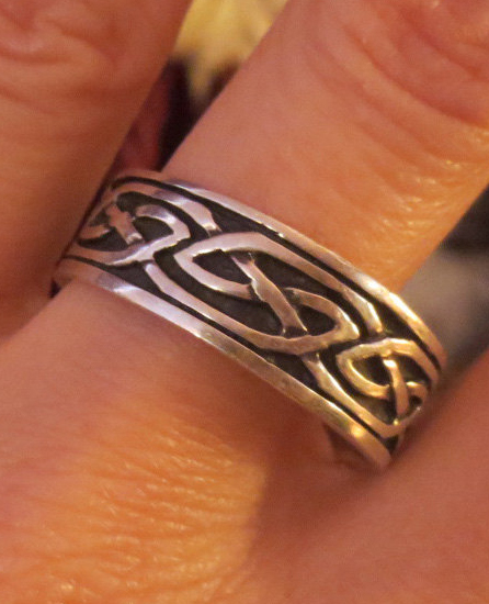 Vintage Sterling Silver Celtic Knot Band Ring Men's Size 13